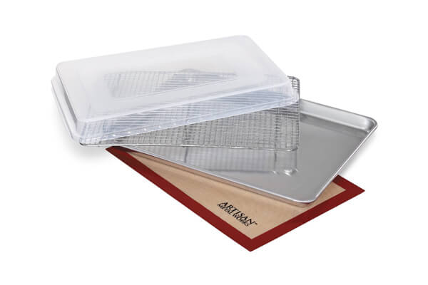 artisan bakers set includes halfsize baking sheet baking mat cooling rack and cover