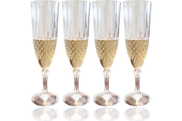 Champagne Flutes with Crystal Effect - $19.90
