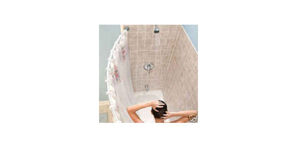 Curved shower rod - Aluminum, Adjustable 36.5 inches-66 inches, SILVER, Hardware included, Brand New
