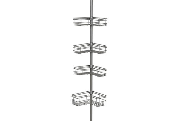 Zenna Home 2130NN, Tension Corner Pole Caddy In Satin Nickel