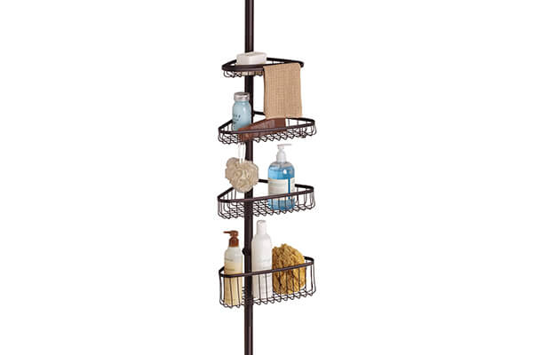 InterDesign York Bathroom Constant Tension Corner Shower Caddy