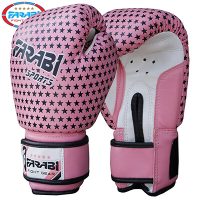 Kids boxing gloves, junior mitts, junior mma kickboxing Sparring gloves 4Oz pink stars