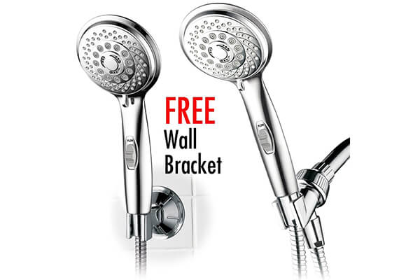 HotelSpa® AquaCare Series Shower Luxury Convenience Package: 7-setting Handheld Shower-Head with Patented ON/OFF Pause Switch, Extra-Long Hose & Bonus Low-Reach Bracket