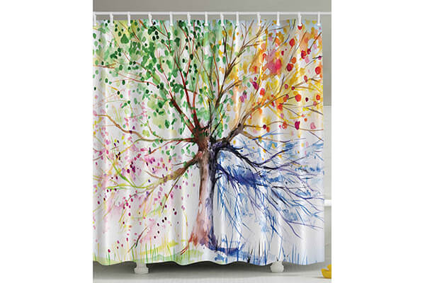 Four Seasons - Shower Curtain - Berry Green Red Yellow Navy Brown
