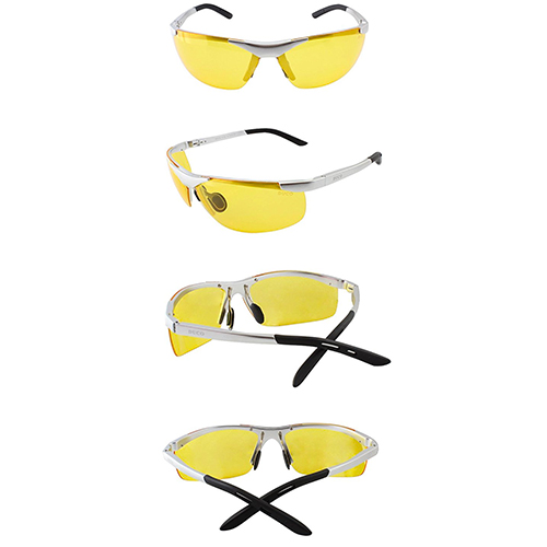Duco Night-vision Glasses Anti-glare Driving Eyewear Polarized Glasses 6806 (Silver, Yellow)