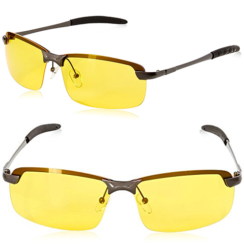 Mens Womens Night Vision View Square Rimless