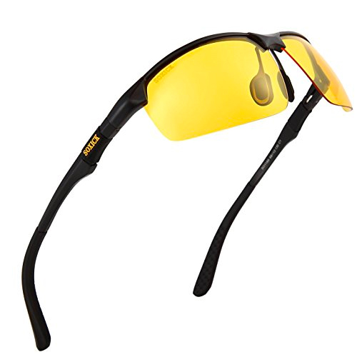 Manneco Men's HD Polarized Anti-Glare Safety Glasses for Night Driving and outdoor activities