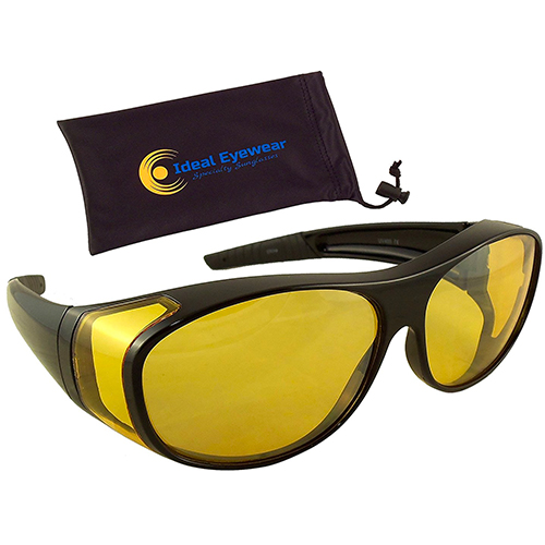 Night Driving Wear Over Glasses by Ideal Eyewear - Yellow Lens Fit Over Glasses