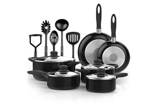 Vremi 15 Piece Nonstick Cookware Set with Cooking Utensils