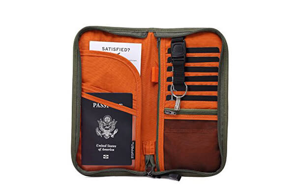 Zoppen RFID Travel Wallet & Documents Organizer Zipper Case