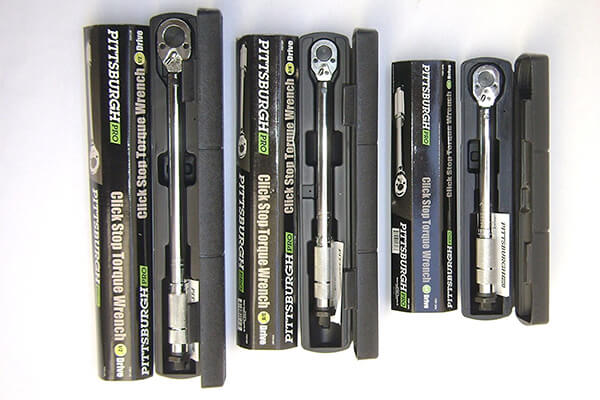 "Pittsburgh Pro Reversible Click Type Torque Wrench Sizes 1/4"", 3/8"", 1/2."""