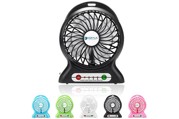 Dizaul Mini USB Rechargeable Fan with 2600mAh Power Bank and Flash Light