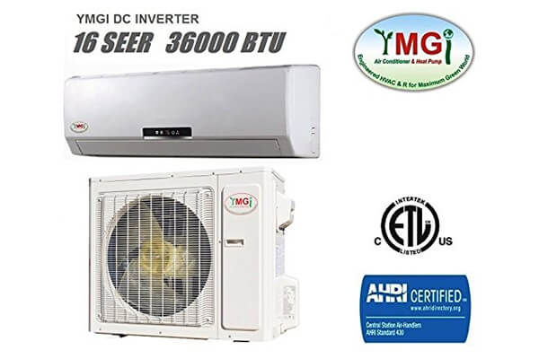 YMGI 36,000 BTU 16 SEER Ductless Mini Split DC Inverter Air Conditioner