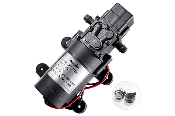 bayite 12V DC Fresh Water Pump with 2 Hose Clamps 12 Volt Diaphragm Pump Self Priming Sprayer Pump with Pressure Switch