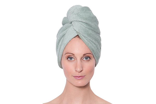 Texere Women's Bamboo Hair Towel, Lily Green, Unisize