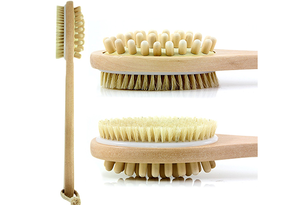 Bath Blossom Natural Bristle Bath Body Brush - Exfoliating Scrub Brush - Effective for Wet and Dry Body Brushing - Long Handled Shower Back Scrubber Brush - Suitable for Men and Women