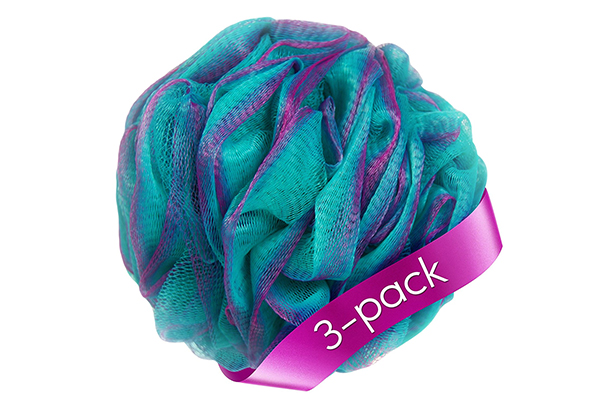 Loofah Bath Sponge Set of 3 different colors
