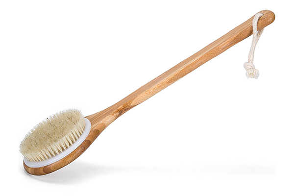 Janrely Bath Dry Body Brush Natural Bristles Back Scrubber with Long Wooden Handle for Cellulite and Exfoliating