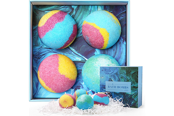 Bath Bombs Gift Set, 5.5 Oz Each Luxurious Bath Bomb Kit with Essential Oils, Lush Spa Floating Fizzies, Rich and Colorful Bubbles, Gift Ideas for Women & Kids, Pack of 4