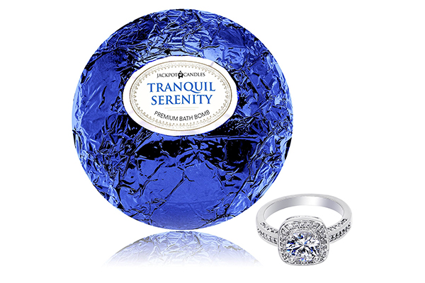 Bath Bomb with Surprise Size Ring Inside Tranquil Serenity Extra Large 10 oz. Made in USA