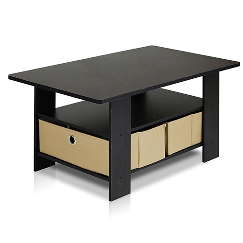 6. Furinno 11158EX/BR Coffee Table with Bins, Espresso/Brown