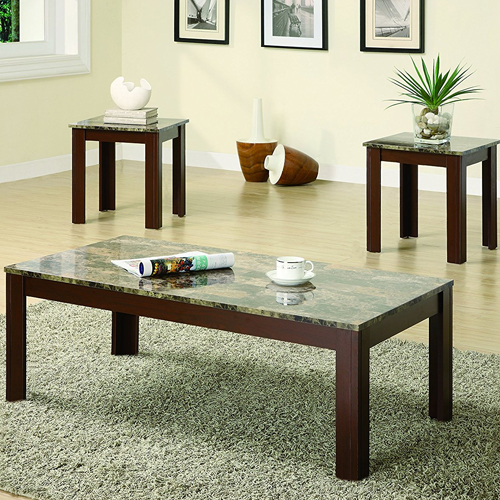 6.Coaster Home Furnishings 3 Piece Faux Marble Top Coffee Table and End Table Occasional Set - Cherry
