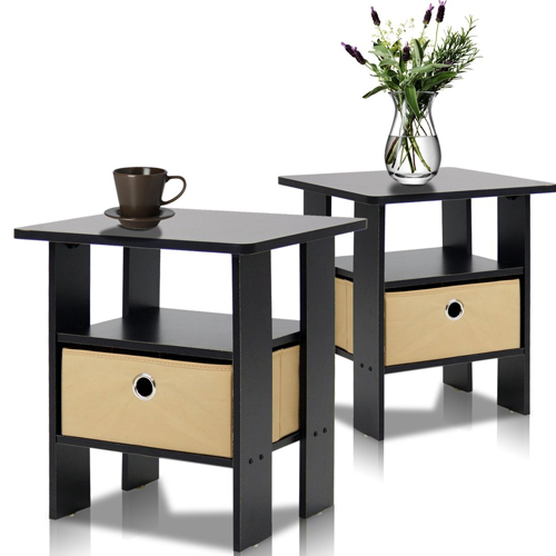 2. Furinno 2-11157EX End Table Bedroom Night Stand, Petite, Espresso, Set of 2