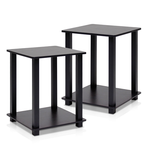 1. Furinno 12127EX/BK Simplistic End Table, Espresso/Black, Set of 2