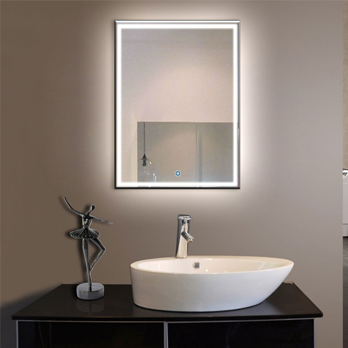 9. Vertical LED Bathroom Silvered Mirror with Touch Button