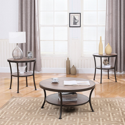 3 Piece Modern Round Coffee Table and 2 End Tables Living Room