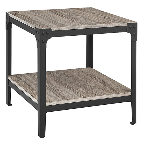 9. WE Furniture Angle Iron Wood End Tables in Driftwood - Set of 2