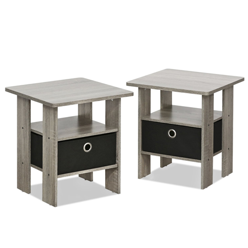 3. Furinno 2-11157GYW Petite End Table Bedroom Nightstand, Set of Two
