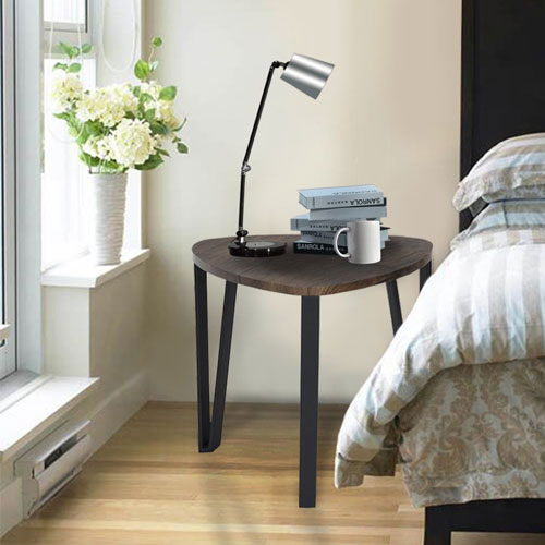 1. Coffee Table Set of 3 End Side Table Night Stand Table Nesting Corner Table Stacking Telephone Tea Table Brown Modern Leisure Wood Table With Metal Tube For Living Room Waiting Room Balcony and Office