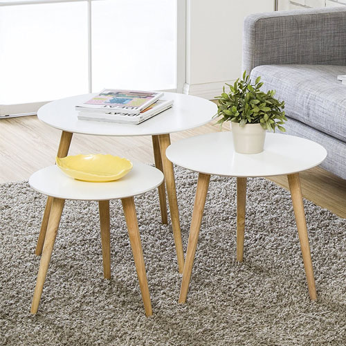 9. Homury Coffee Table Round Set of 3 End Side Table Wood Nesting Corner Table Sofa Table Tea Table,White