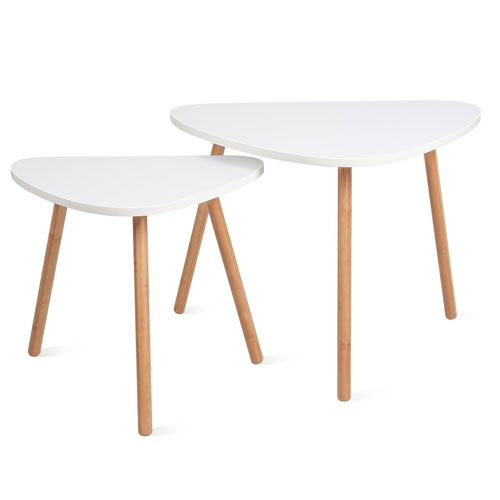 10.HOMFA Nesting Coffee End Tables Modern Furniture Decor Side Table for Living Room Balcony Home and Office ( White, Set of 2 )