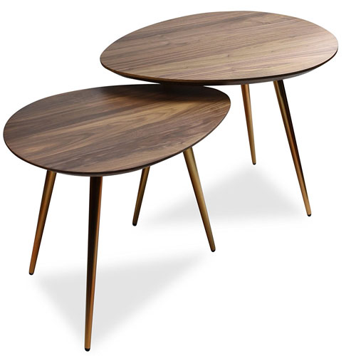 5. Mid Century Modern Coffee Table Set by Edloe Finch - Coffee Tables for Living Room - Contemporary & Retro Low Walnut Wood Mid-century Nesting Table - 2 Piece Set