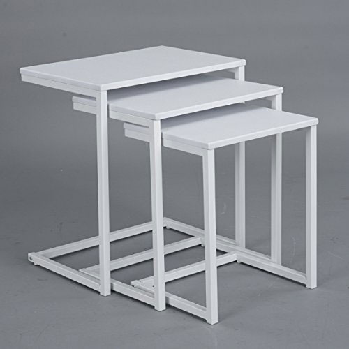 8. Set of 3 White Top and Metal Frame Nesting Side End Table by Coavas