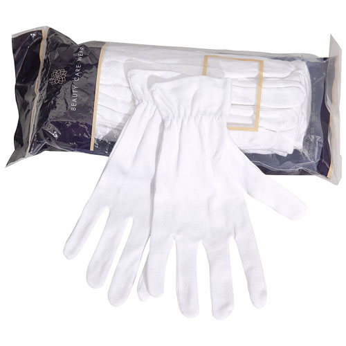 Beauty Care Wear Medium White Cotton Gloves