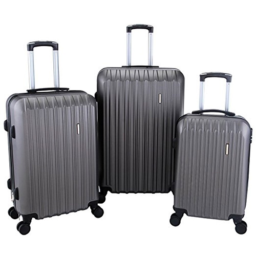 SUNCOO 3Pcs Luggage Travel Set Bag ABS Trolley Spinner Suitcase Grey
