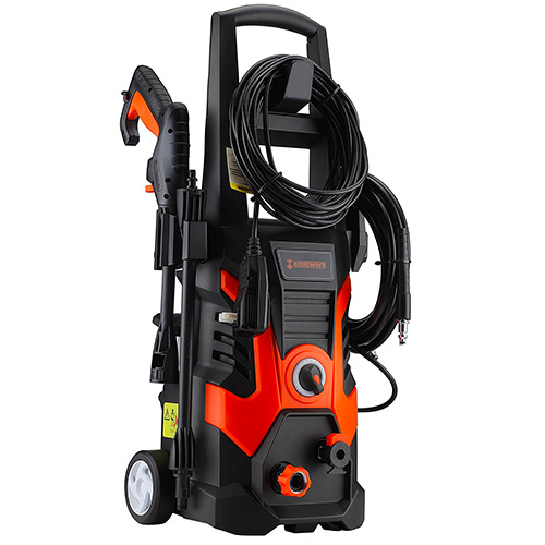 Händewerk 13 AMP 1.5GMP 1900 PSI Electric Pressure Washer with Power Hose Gun, 3 Nozzles Soap Dispenser and Wash Brush