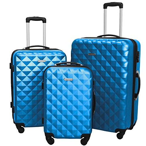 HyBrid Travel 3 Piece Luggage Set Durable Lightweight Hard Case Spinner Suitcase
