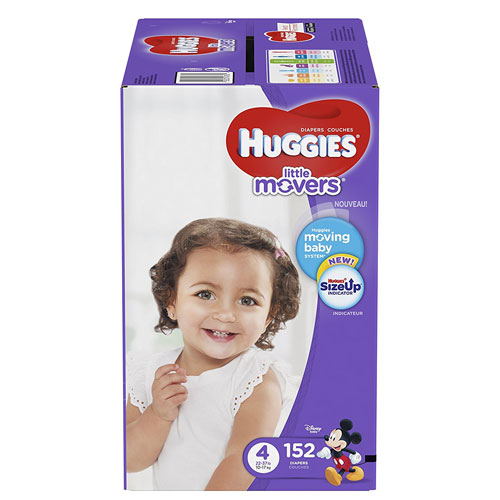 HUGGIES LITTLE MOVERS Diapers, Size 4 (22-37 lb.), 152 Ct