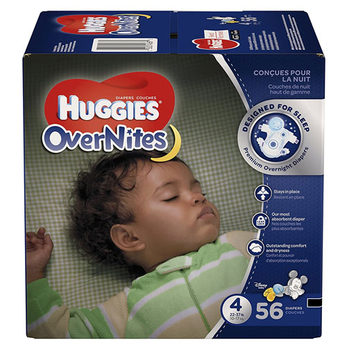 HUGGIES OverNites Diapers, Size 4 for 22-37 lbs, Pack of 56 Overnight Baby Diapers