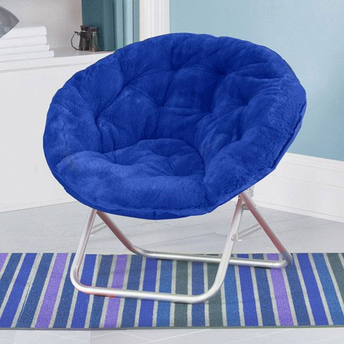 Mainstays Blue Plush Saucer Moon Chair Adult Size