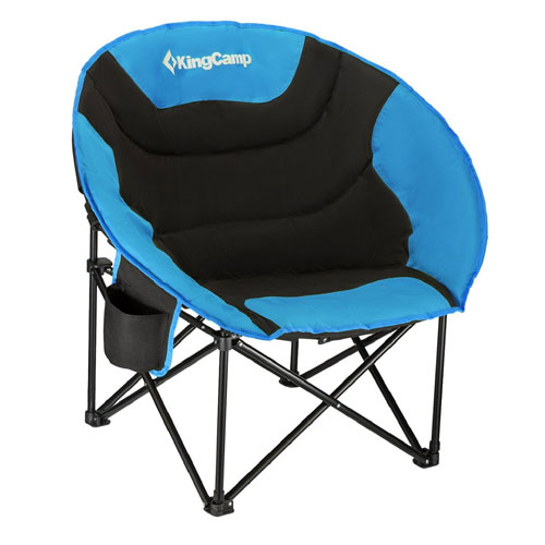 KingCamp Moon Saucer Camping Chair Steel Frame Folding Padded Round Portable Stable with Carry Bag