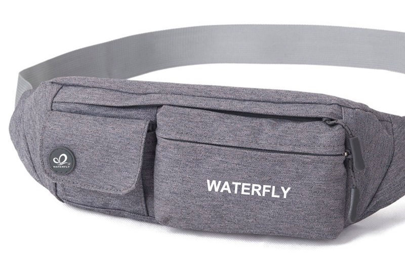 WATERFLY Slim Soft Polyester Water Resistant Waist Bag Pack for Man Women