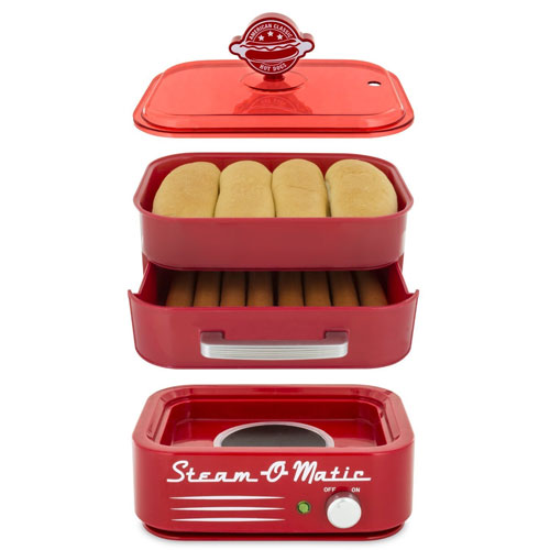 Smart Planet HDS‐1 Steam-O-Matic Hot Dog Steamer, Red