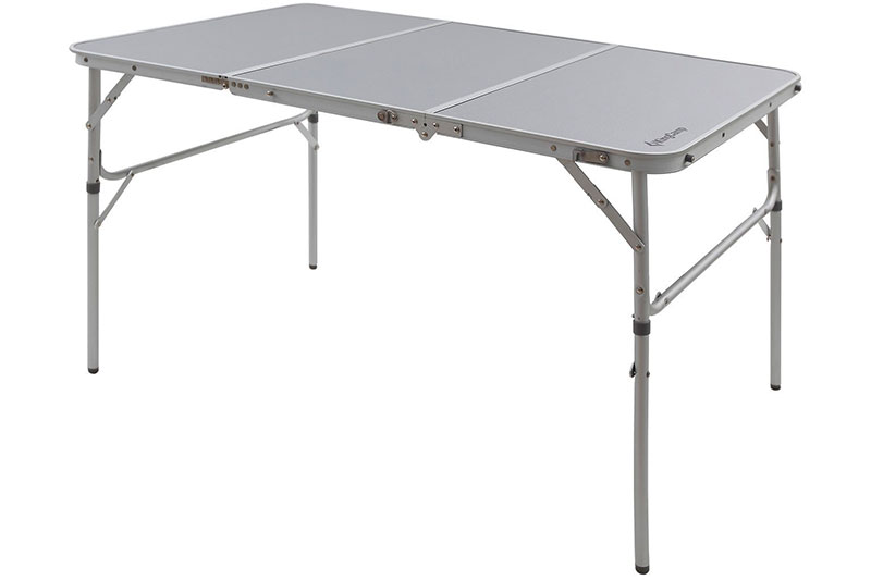 KingCamp Aluminum Alloy 3-Fold Camp Table with Carry Bag Adjustable Height Light Weight Collapsible Foldable Portable Sturdy Compact Storage