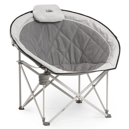 Core Equipment Folding Oversized Padded Moon Round Saucer Chair