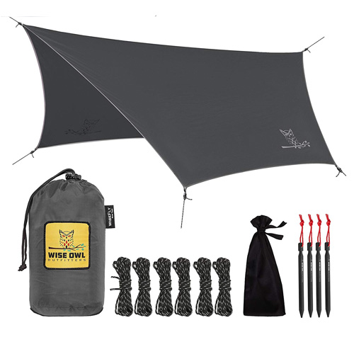 Wise Owl Outfitters Rain Fly Tarp – The WiseFly by Premium 11 x 9 ft Waterproof Camping Shelter